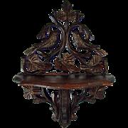 Victorian Hand-Carved Walnut Shelf with Birds - 1890's