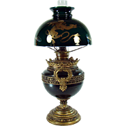 Signed Miller Banquet Lamp with Inlaid Gold Dragon Shade - 1880's