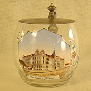 Czechoslovakian Enameled Stein with Historical Building
