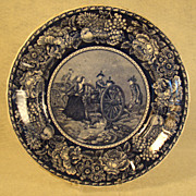 Historical Blue Staffordshire Plate - Molly Pitcher