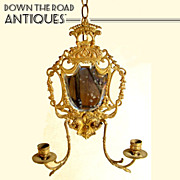 Beveled Mirror Wall Candelabra / Sconce c.1850's
