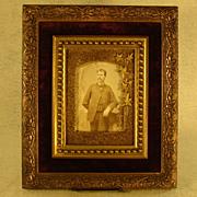 Victorian Ornate Picture Frame with Gentleman's Photo - Velvet Interior