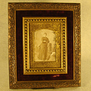 Victorian Ornate Picture Frame with Woman's Photo - Velvet Interior