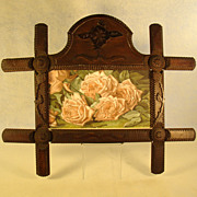 Large Tramp Art Frame with Rose Lithograph