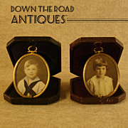 Miniature Portraits on Glass with Leather Cases - Pair - 1890's