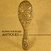 Sterling Hair Brush with Cupid Kissing Psyche and Medusa Head