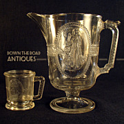 Early American Pressed Glass Pitcher and Mug
