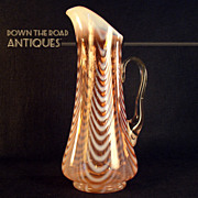 Cranberry Opalescent Blown Pitcher with Drapery Pattern