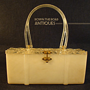 Lucite Carved Lady's Purse