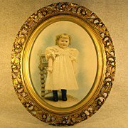 Large Ornate Gold Gesso Frame and Artist Enhanced Photograph 1880s