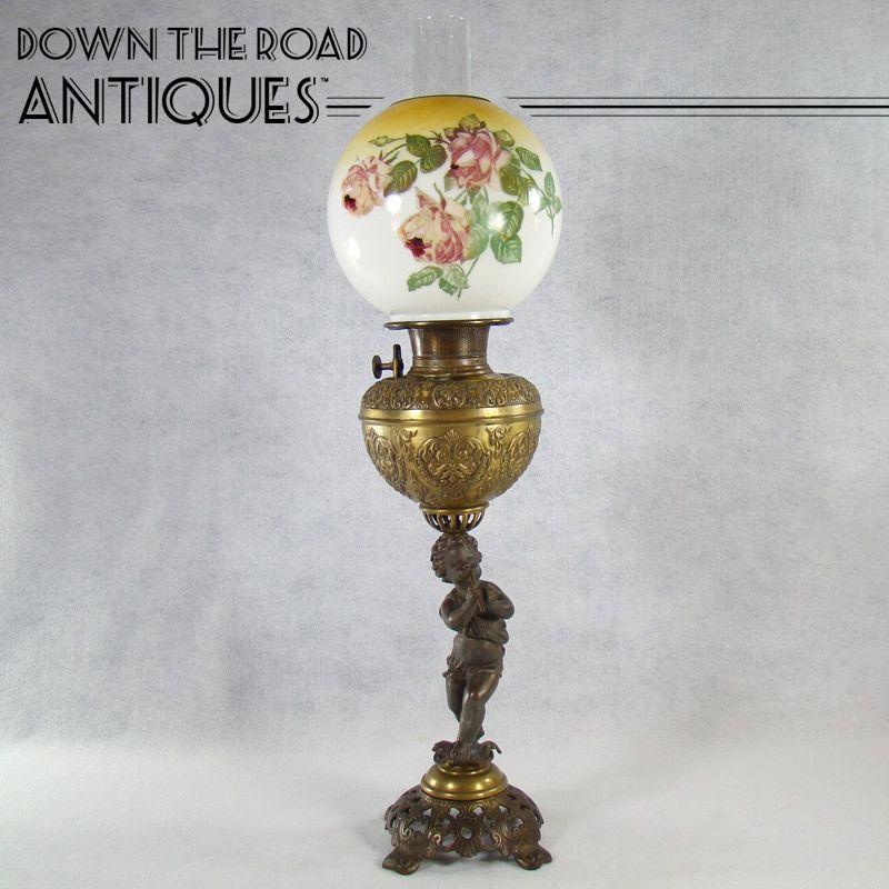 Victorian Banquet Lamp With Puti Cherub Blowing Fife