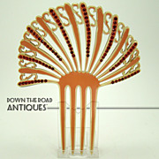 Root Beer Colored Mantilla Hair Comb with Ruby Red Rhinestones