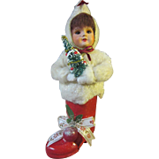 SFBJ Paper Mache Girl in a Santa Boot