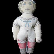 "Awake/Asleep Printed cloth doll, 17"" tall"