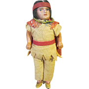 Small Native American doll, bisque head, composition body, 6""
