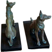 French Art Deco Louis Carvin Alsatian German Shepherd Bookends; a Pair c 1920