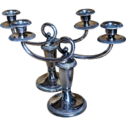 French Christofle Gallia Art Deco Silverplate Candlesticks, a Pair c. 1930
