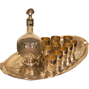 Christofle Gallia and Baccarat French Art Nouveau Liqueur Set for 12, Tray Decanter Cups c ...