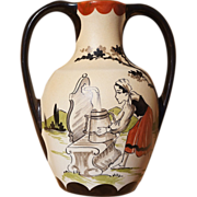 Picturesque French Basque Double Handled Pottery Vase, Mid Century