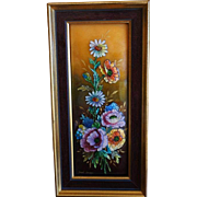 SALE PENDING Camille Fauré French Art Deco Hand-Enamelled Flowers on Glass, Framed, c 1930