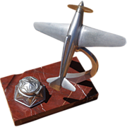 French Art Deco Airplane Inkwell on Marble Base c. 1930