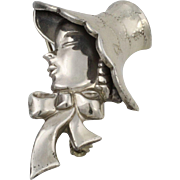 """Vintage Sterling Silver """"Lady with Hat"""" by Lang"""