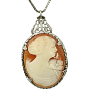 Edwardian Signed Sterling Silver Ostby & Barton Hand Carved Shell Cameo Pendant/Chain