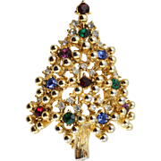 Vintage Eisenberg Multi-colored Christmas Tree Pin (Book Piece)