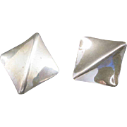 Sterling earrings SQUARE Clip Large OOAK
