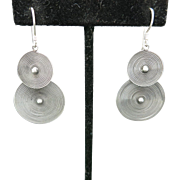 Dangle earrings Sterling silver Tribal silver discs