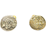 Coin earrings Screw ON GREEK cOINs Gold Tone