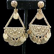 Napier earrings Large Filigree Dangles Coins