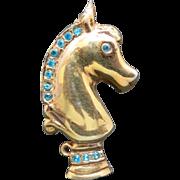 Chess Piece Pin KNIGHT brooch Gold tone rhinestones