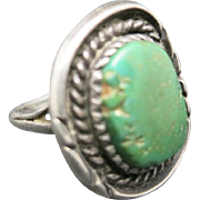 Green turquoise ring Sterling silver navajo Hand made