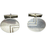 Birks Cufflinks Sterling Silver Oval no Monogram
