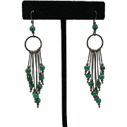 Malachite bead earrings Sterling silver Wires Hand made