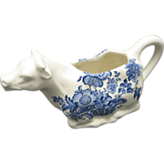 Cow Creamer Staffordshire Charlotte Royal Blue and white