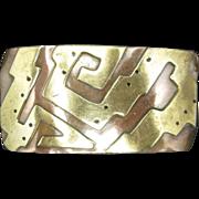 Copper Brass Barrette Mixed Metals Mexico FF