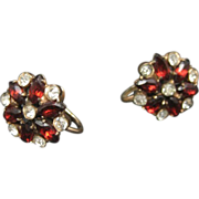 Rhinestone Earrings Ruby Red and Clear Sterling Gold Vermeil