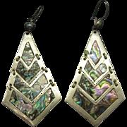 Abalone Earrings Large Dangle Pierced Mexico Alpaca
