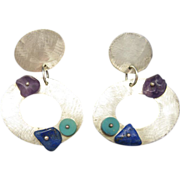 Sterling Silver Earrings Turquoise Amethyst Pierced Dangles