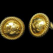 Ferragamo Earrings Gold Tone Shoe Motif Clip On