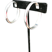 Napier earrings Large silver tone Hoops Screw on