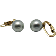 Ciner earrings Vintage Grey fake pearls gold tone metal