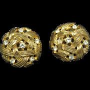 Trifari earrings Basket weave design Shiny Rhinestones