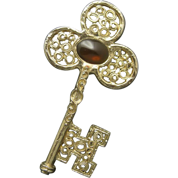 Skeleton Key Pin Big Fancy Amber Glass Stone From