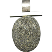 Studio Jewelry Pendant Sterling Silver Tumbled Rock