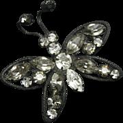 Butterfly pin Rhinestones Clear Smoke Black Japanned Metal