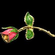 Rose Pin Gold tone metal Enamel Pink Petals