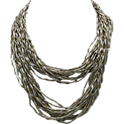 Torsade necklace Sterling silver and BRASS beads Long thick